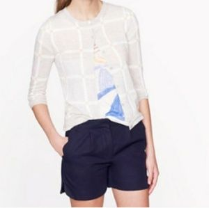 Navy shorts with scalloping
